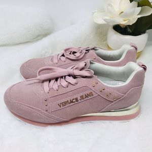VERSACE JEANS Pink Suede Lace Up Sneakers, 7.5-8